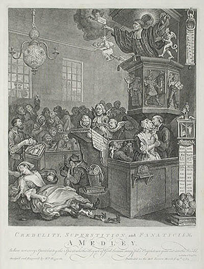 a hogarth print demonstrating the superstitions of his time